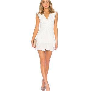 [bcbg] off white tyrah ruffle mini dress